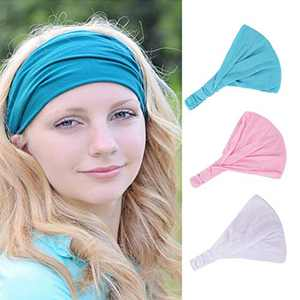 Urieo Yoga Headband Blue Elastic Sports Head Band Wide Running Head Wraps for Women and Girls (Pack of 3)