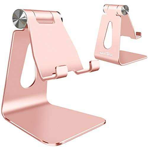 Adjustable Cell Phone Stand, SKEJER Phone Holder, Tablet Stand Dock, Aluminum Desktop Compatible with iPhone 12 iPad, Samsung Galaxy, Google Pixel All Smart Phone/Tablets Under 10 in-Rose Gold