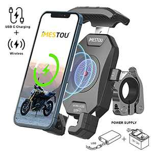 iMESTOU Upgraded Motorcycle Wireless Qi/USB C Phone Charger Holder Handlebar Cellphone Mount Quick Release with Switch 10A Fuse Fast Charging for iPhone Samsung 3.5-6.8 inch Smartphones