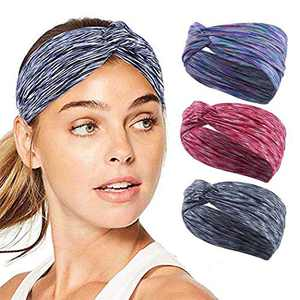 Urieo Yoga Headbands Black Running Head Wraps Knott Elastic Wide Sports Head Scarf for Women and Girls (Pack of 3)