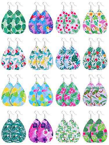 16 Pairs Faux Leather Teardrop Earrings Boho Lightweight Leaf Drop Earrings for Women