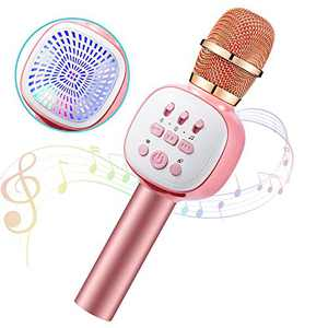 Kids Karaoke Microphone,Anyoug Wireless Bluetooth Microphone with LED Lights,5 in 1 Portable Car Karaoke Microphone Speaker Player Recorder Machine for Kids Adults Birthday Party KTV Christmas Pink