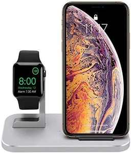 BNCHI 2 in 1 Aluminum Alloy Phone Wireless Charger Stand & Charging Station Compatible iWatch Holder Series 5/4/3/2/1/iPhone 11/11pro/X/Xs/Xs MAX/8 Plus/8(Comes with 2A Adapter) (Silver)