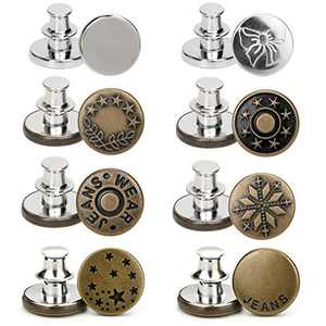 Awolf 1 Set of 8 Pcs Perfect Fit Instant Button, 17mm Detachable Pants Button Craft Decoration Buttons, Waist Buckle Extender- Metal Button Fits to Any The Cowboy Clothing Jackets Pants Bags