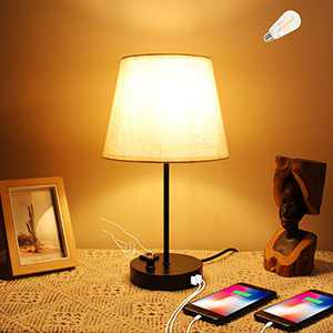 Bedside Table Lamp, CHINLY Nightstand Lamp with USB Ports + AC Outlet Fabric Shade Knob Dimmable Desk Reading Lamp for Bedroom Living Room Dorm Office (Bulb Included)