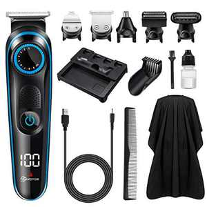 Hair Clipper Beard Trimmer for Men, EIVOTOR 5 in 1 Multifunctional Hair Trimmer Nose Body Trimmer Beard Shaver Set, Cordless Rechargeable Led Display Grooming Kit for Men and Family Use