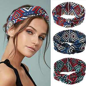 Urieo Boho Headbands Elastic Thick Head Bands No Slip Hair Bands Sports Head Wraps for Women and Girls (Pack of 3)