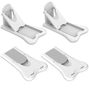 Sliding Door Lock for Baby Safety-Child Proof Doors & Closets (Grey/White, 4 Pack Baby Lock + 4 Pack 3M Adhesive)