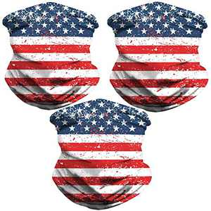 Sibosen 3 Pack American Flag Neck Gaiter Face Cover Scarf Breathable Gator Mask Cooling Bandana, White/Red