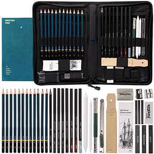 FUNSTAR Drawing Pencils 40pcs Art Supplies for Sketch Complete Artist Kit Professional Sketching Set Includes Drawing Supplies and A5 Sketch Pad for Kids Teenage or Adult