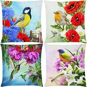 AOKDEER Bird Throw Pillow Covers, Hummingbird and Flower Double Sided Print Custom Pillow Cover Cases Cushion Covers for Sofa Couch Bed Car Living Room Decor 18x18 Inch, Set of 4
