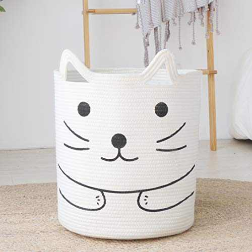 """ABETREE Large Woven Laundry Basket Storage with Handle 18"""" x 15.5"""" Cat Cotton Rope Laundry Hamper Nursery Tall Basket for Blanket Baby Toy Storage Organizer"""