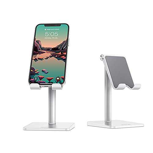 Cell Phone Holder for Desk, OMOTON Cell Phone Stand Dock Adjustable Angle (5-45°) for Office, Kitchen, Movies, Compatible with iPhone 11/11 Pro/Xs Max/Se2 and All Smartphones (3.5-7.0 Inch), Silver