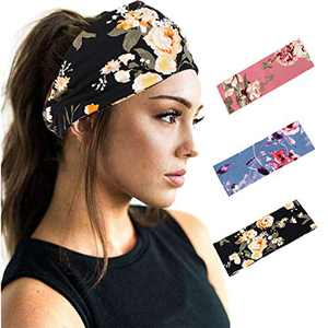 Woeoe Boho African Turban Printed Headbands Beach Stylish Yoga Black Hairbands Elastic Wide Head Wraps for Women and Girls (Pack of 3)