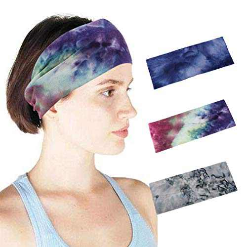 Woeoe Sports Turban Printed Headbands Stylish Running Tie Dye Head Wraps Yoga Workout Hair Bands Elastic Wide Head Scarfs for Women and Girls (Pack of 3)