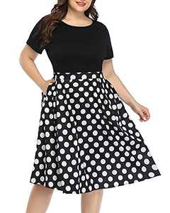 Plus Size Midi Dresses Women with Pockets Black Polka Dots Short Sleeve Casual Work Party T-Shirt Swing Fit&Falre Dress