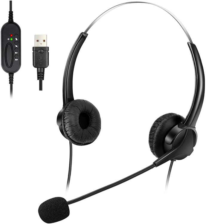Elikliv T601 USB Headset with Microphone Call Center Headsets 2M Length PC Headset Headband Computer Earphone Customer Service Headphone for Computer Laptop Phone