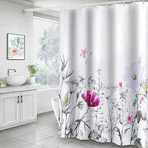 Didihou Floral Fabric Shower Curtain, Decorative Waterproof Bath Curtain Modern White Shower Curtain with 12 Hooks