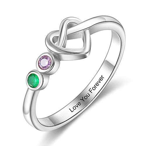 Kaululu Personalized 2 birthstone Rings for Her Mother Rings with Simulated Birthstones Custom Name Promise Rings mother's day gift for wife