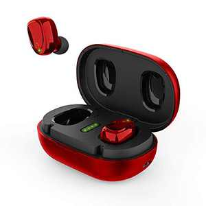 BNCHI True Wireless Earbuds Bluetooth 5.0 Headphones in Ear with Metal Charging Case,Super Stereo,Noise Cancellation Mic, Touch Control, 42 Hours Playback for iPhone and Android(Red)