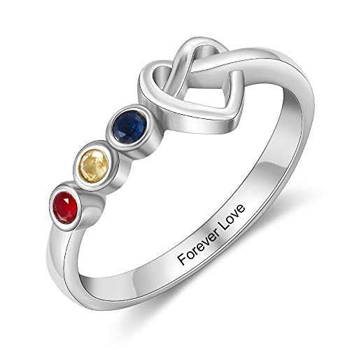 Kaululu Personalized 3 birthstone Rings for Her Mother Rings with Simulated Birthstones Custom Name Promise Rings mother's day gift for wife