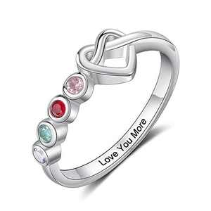 Kaululu Personalized 4 birthstone Rings for Her Mother Rings with Simulated Birthstones Custom Name Promise Rings mother's day gift for wife