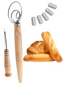 Bread Lame Scoring Tool, Bakers Dough Whisk Mixer Blender Hand Crafted for Fresh Homemade Pizza, Pasta, Pastries, Sourdough Loaves and Biscuits, Gift for Cake Dessert Pizza Pastry Bakers