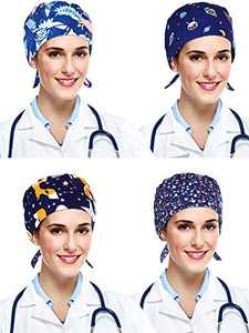4 Pieces Scrub Cap Bouffant Turban Cap Adjustable Bouffant Hats for Women and Men (Blue Color Series)