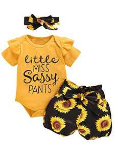 Baby Girls Little Miss Sassy Pants Short Set Cute Floral Ruffles Bodysuit (Yellow05,18-24 Months)