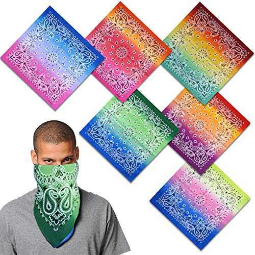 Bandanas 6 Pack for Men Women, 100% Cotton Gradient Large Paisley Hair bandannas,159A-1