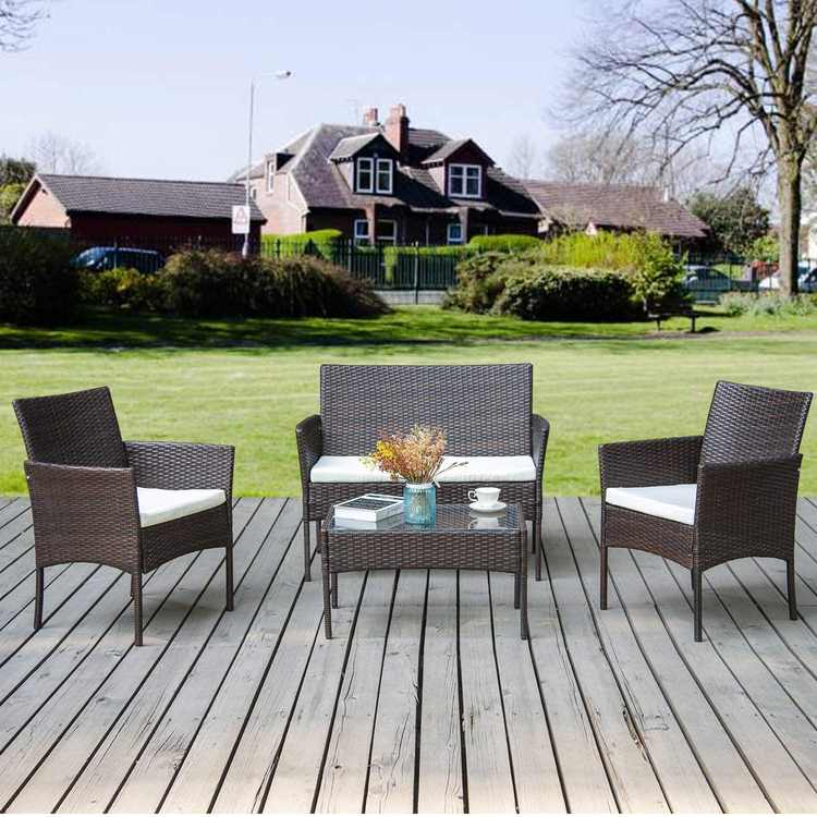 SIRUITON Rattan Furniture Set for Outdoor Garden or Indoor Conservatory, 4 Pcs Set Rattan Sofa Chairs, Rattan Table with Tempered Glass Table Top (Brown)