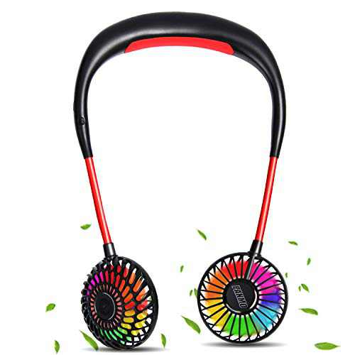 PANMO Portable Neck Fan, Personal Small Fans with 4 Speeds, Colorful LED Lights, Aromatherapy, 2000mAh USB Rechargeable 360° Adjustment Silent Cool Fans for Sports, Travel, Outdoor(Black)