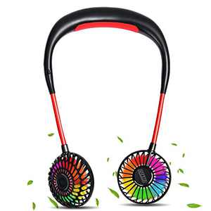 PANMO Portable Neck Fan, Personal Small Fans with 4 Speeds, Colorful LED Lights, Aromatherapy, 2000mAh USB Rechargeable 360° Adjustment Silent Cool Fans for Sports, Travel, Outdoor (Black)