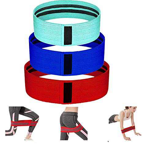 GUUKIN Resistance Bands Set 3 Fabric Booty Bands & 1 Loop Band Light to Heavy Level, Exercise of Leg Glute Arm Non-Slip Workout Band for Women & Men Fitness Yoga Pilates Strength Training
