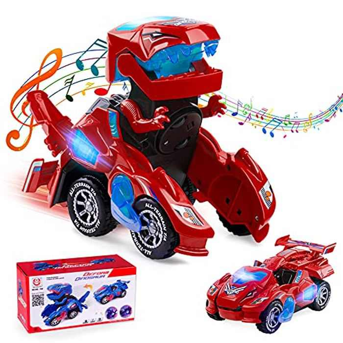 Ltteaoy Transforming Dinosaur Car, Automatic Transforming Dinosaur LED Car with Flashing Lights and Sound Dinosaur Toys for Boys Girls Aged 3-7 Years Old
