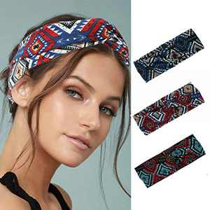 Woeoe Boho African Turban Criss Cross Knotted Headbands Stylish Red Printed Yoga Hair Bands Elastic Wide Head Scarfs for Women and Girls (Pack of 3)
