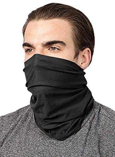ROSKIKI Bandana Neck Gaiter Scarf Breathable Headwear Cover Balaclava Head Buff Scarf Black