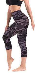 CAMPSNAIL Printed Capri Leggings for Women - High Waisted Tummy Control Capris Pants Yoga Workout Athletic Cycling Tights Navy Camo