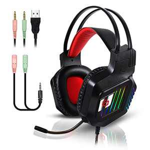 Stereo Gaming Headset for PS4 PC Xbox One Controller Noise Cancelling Over Ear Headphones with Mic RGB LED Light Bass Surround Soft Memory Earmuffs for Laptop Mac Nintendo Switch Games