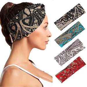 Urieo Boho Yoga Headbands Black Flower Running Hair Bands Elastic Head Scarf for Women and Girls (Pack of 4)