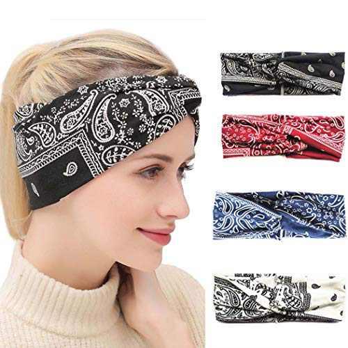 Urieo Boho Yoga Headbands Black Cross Running Hair Bands Elastic Non Slip Head Wraps for Women and Girls (Pack of 4)