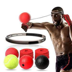 TOCO FREIDO Boxing Reflex Ball Set - 4 React Reflex Ball Plus Headband, Hand Wraps and Carry Bag, Great for Reflex, Timing, Accuracy, Focus, Hand Eye Coordination Training of Boxing, MMA , Krav Mega