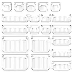 20 Pcs Desk Drawer Organizer Set 5-Size Bathroom Drawer Tray Dividers Versatile Storage Bins Plastic Vanity Trays Organizers Divider Container for Dresser Makeup Kitchen Utensil Office