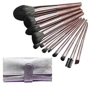 NEVSETPO Makeup Brushes Premium 12pcs Quality Large Make Up Brushes Professional for Foundation Powder Contour Blending Blush Concealer Eye Shadow Lip, Wood Handle Cruelty Free