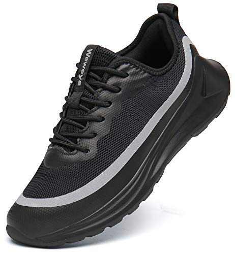 Weweya Walking Shoes for Men Non-Slip Casual Sports Shoes Fashion Sneakers Lightweight Jogging Shoes Black Gray 8.5