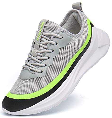 Weweya Men's Athletic Walking Shoes Non Slip Gym Workout Tennis Shoes Lightweight Running Sneakers Gray Green 9.5