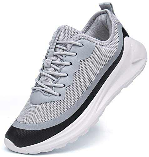Weweya Men's Athletic Walking Shoes Fashion Gym Mesh Comfortable Fitness Sneakers Athletic Running Shoes Gray 7.5