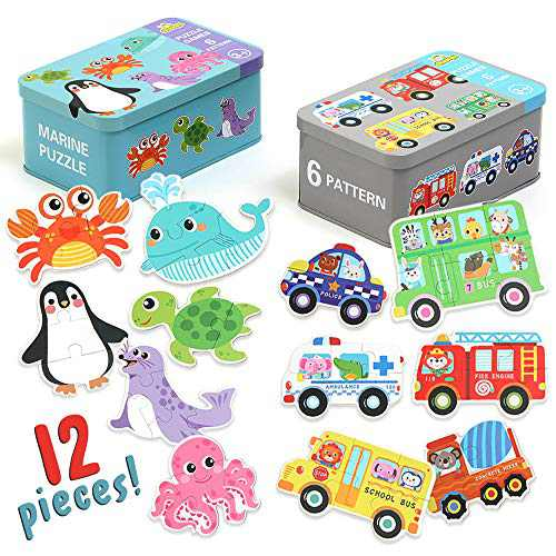 Jigsaw Puzzles for Kids Ages 3-5, Best Learning Educational Toy for 2 3 4 Years Olds, Beginner Toddler Sea Animal & Car Puzzles for Preschool - Penguin, Octopus, School Bus, Great Gift for Girl & Boy