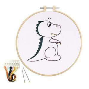 Louise Maelys Embroidery Kits for Kids Kindergarten Handmade Beginner Cross Stitch kit Dinosaur Animal Pattern