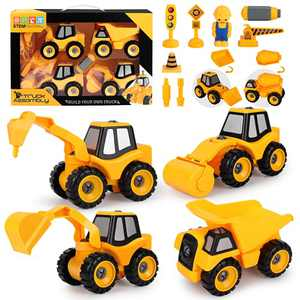 DeXop Construction Vehicle Truck,Set of 4 Take Apart Toys with Screwdriver for 3-7 Year Old Boys and Girls,Excavator,Roller,Dump Truck,Drill Rig Car,Kids STEM Building Toy,Birthday Party Gift